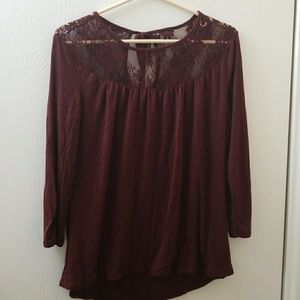 Maurices Maroon Lace Tee